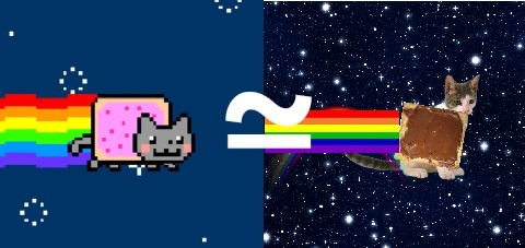 nyan cat ≈ chat qui vole dans l'espace avec une tartine a la place du ventre et qui fait caca arc-en-ciel - meme