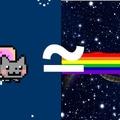 nyan cat ≈ chat qui vole dans l'espace avec une tartine a la place du ventre et qui fait caca arc-en-ciel