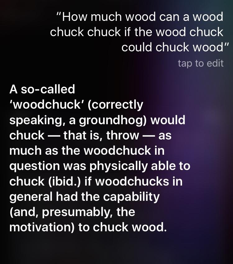 NEWS: siri solves the devious woodchuck mystery - meme