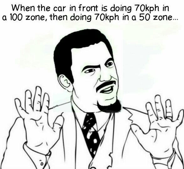 For my Northern friends: 70kph=43mph, 100=62, 50=31 - meme