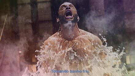 Tomando banho frio - meme