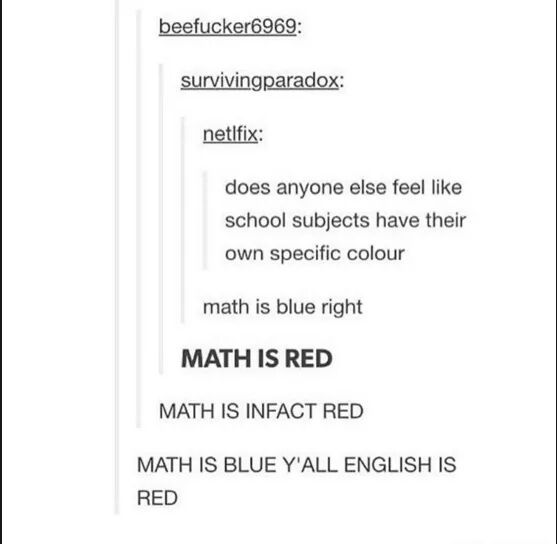 Math is blue. Science is green. English is yellow. History is red. - meme