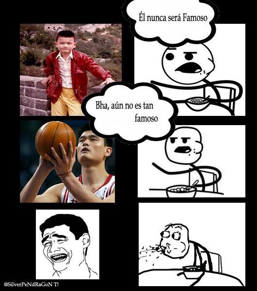 Yao Ming vs cereal guy - meme