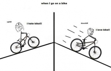 You notice ups and downs when you cycle - meme