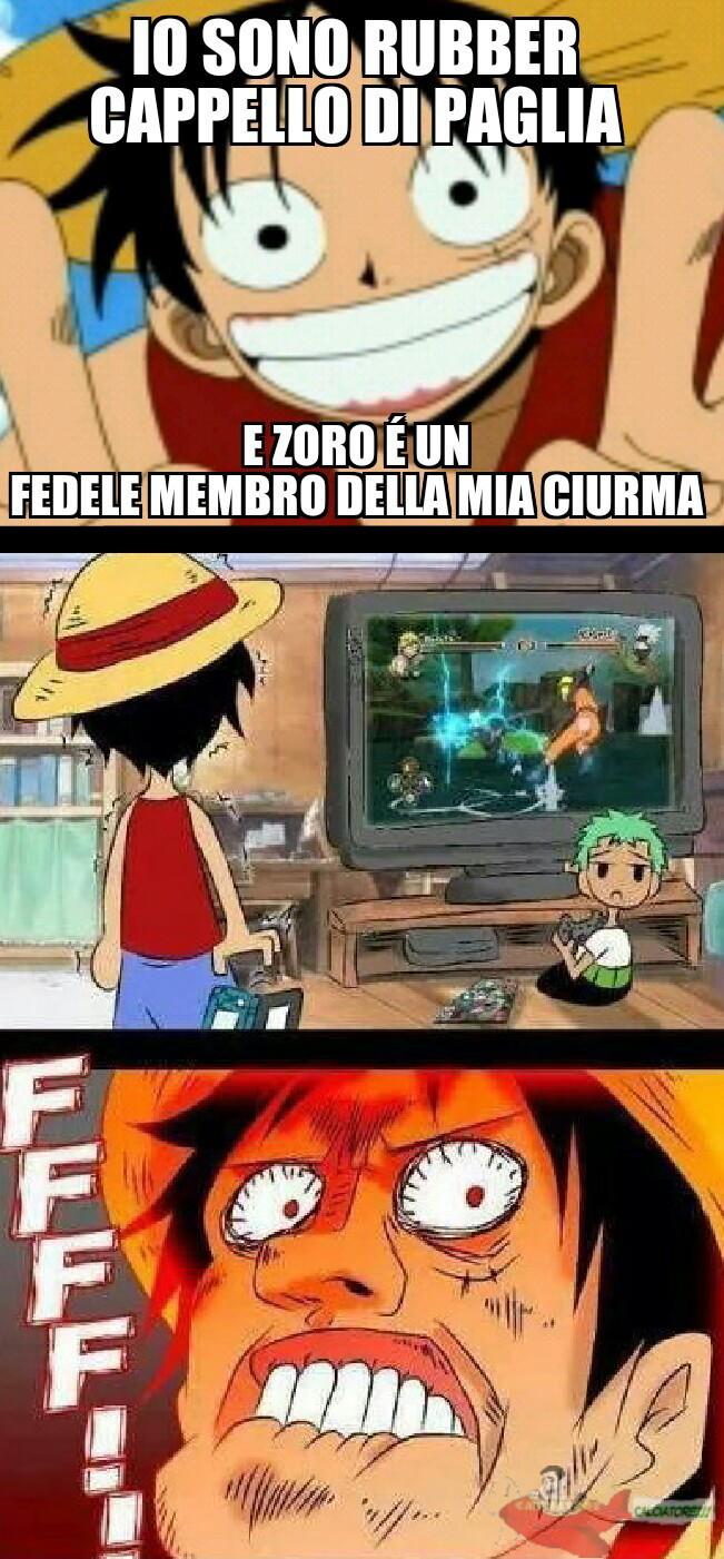 Non ci vuole molto a capirla..Zoro sta giocando a Naruto.. - meme