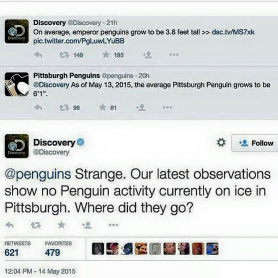 Discovery Channel burns the Pittsburgh Penguins - meme