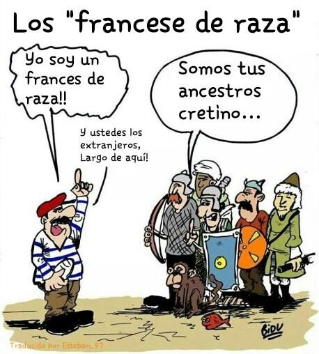 Los franceses......... de raza pura........ el reto son extranjeros - meme