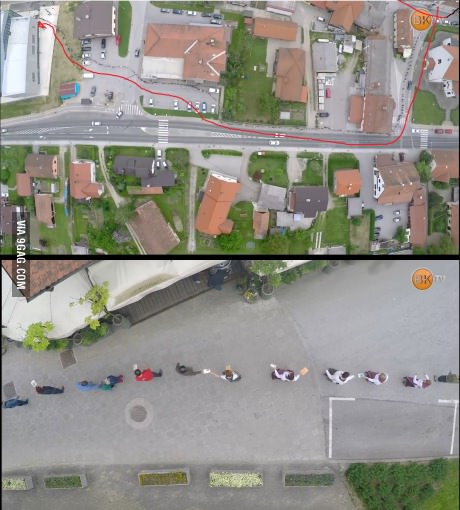 Citizens from a small Slovenian city, help move books from a old library to a new one - meme