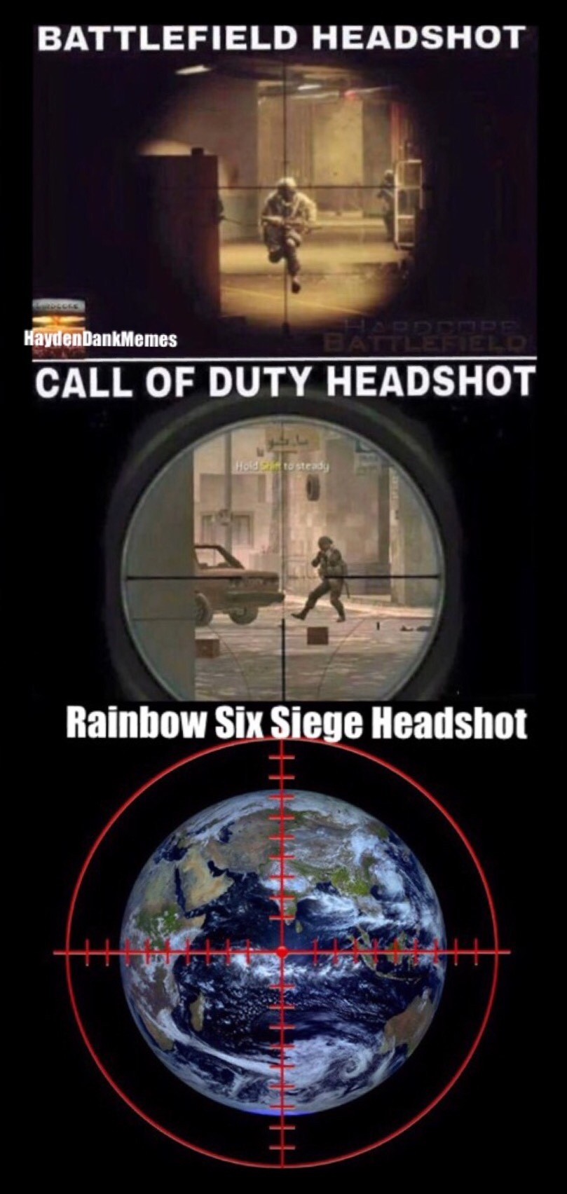 Why aim when you can get free headshots - meme