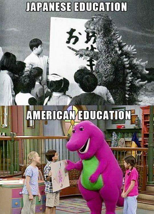 Japanese and American education - meme