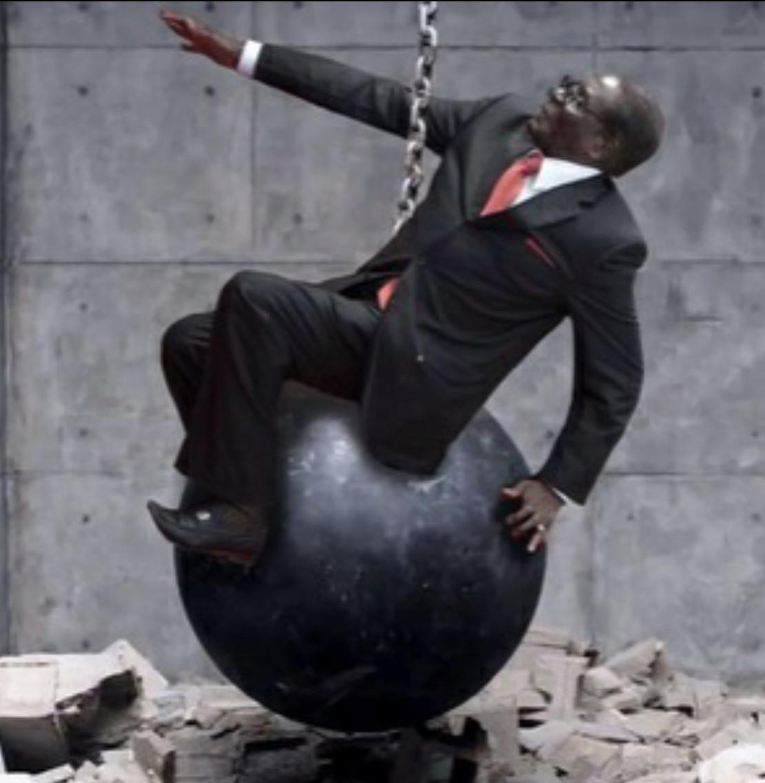 I fell down like a wrecking ball! - meme