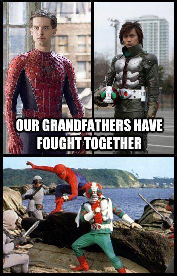 Spiderman vs Kamen rider - meme
