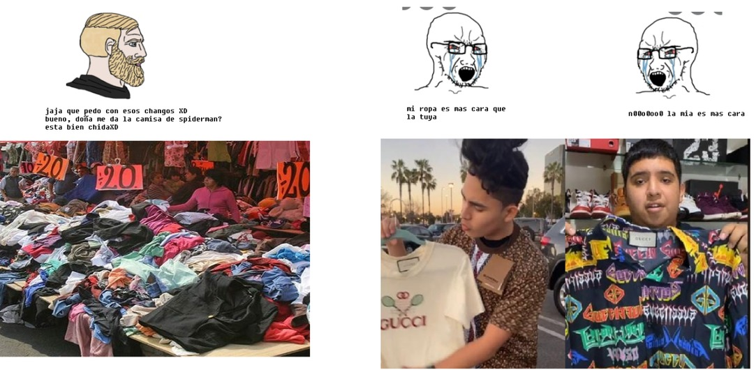 hay una teoria de que la ropa del tianguis perteneces a personas que fueron balaceadas en la calle ._. - meme