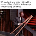 Comically large chopsticks