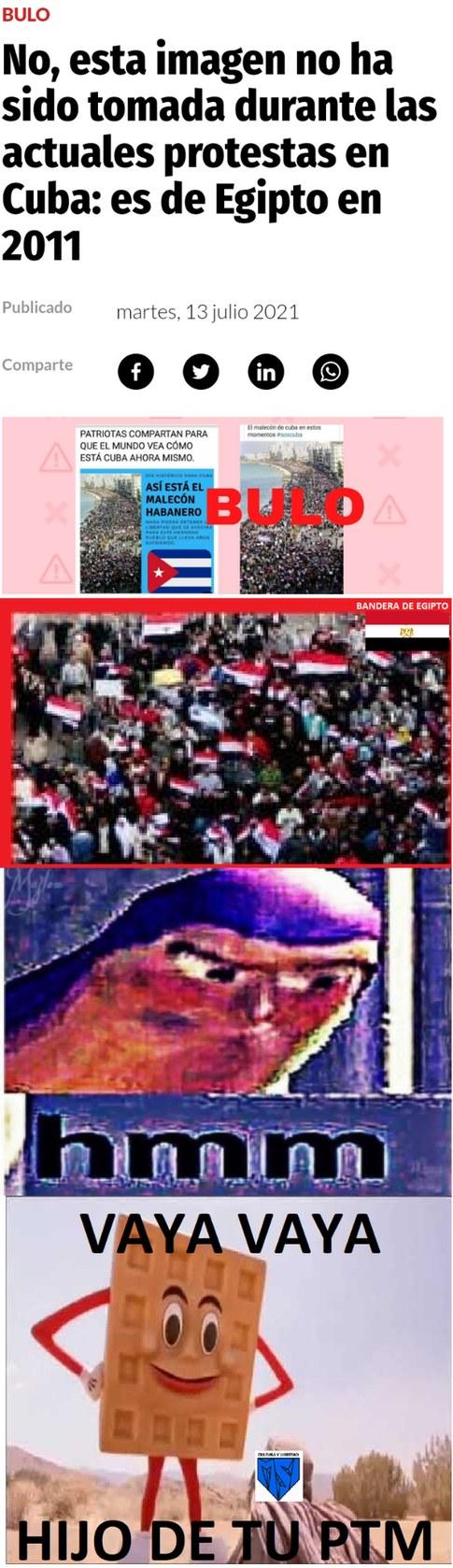Lean el meme completo y contexto es que en Twitter pudieron manifestaciones en Egipto como si fuera en cuba y los descubieron