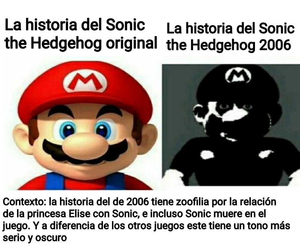 Pinche Sega siempre presionando a Team Sonic (Pd: la plantilla de mario es intencional) - meme