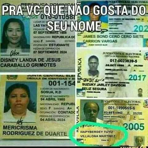 Pelo visto nao é so brasileiros q gosta de nomes peculiares - meme