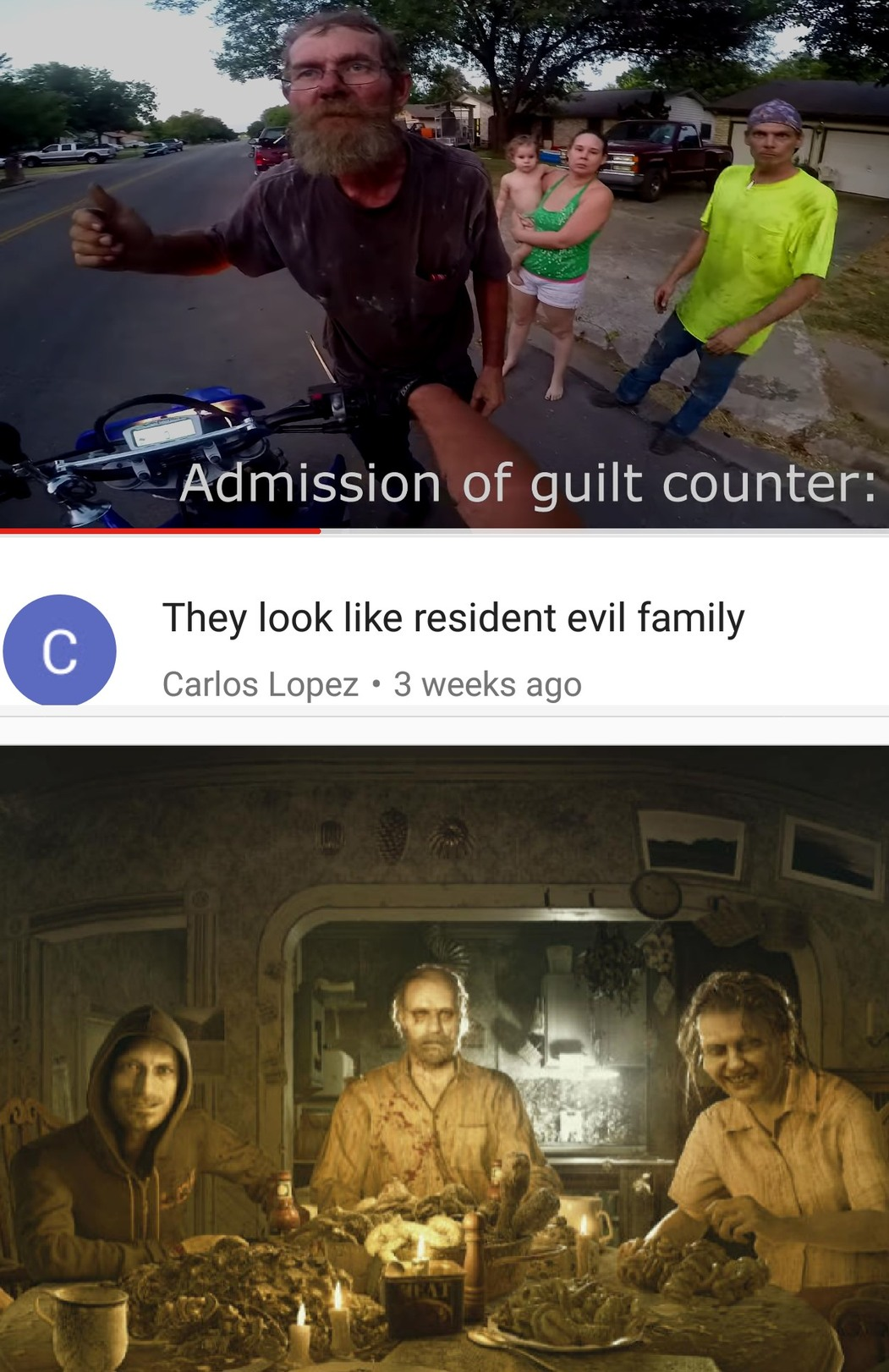 "I know he should have put ""the resident evil family"" but it made me laugh hopefully you do too - meme"
