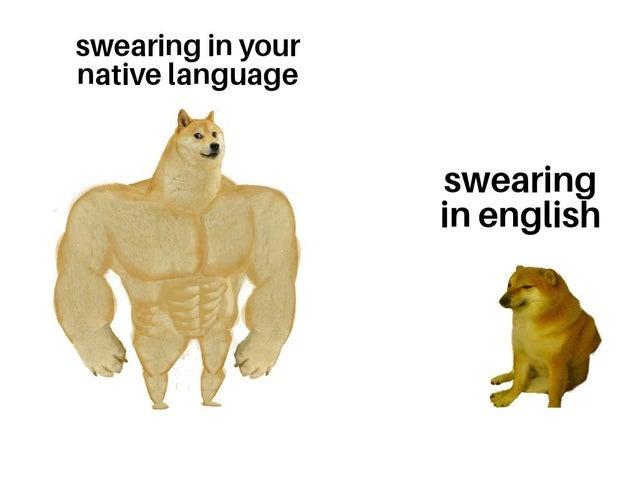 Swearing in your native language vs swearing in English - meme