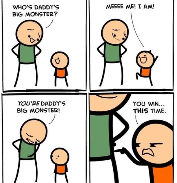 Quem é o monstrão do papai? - meme