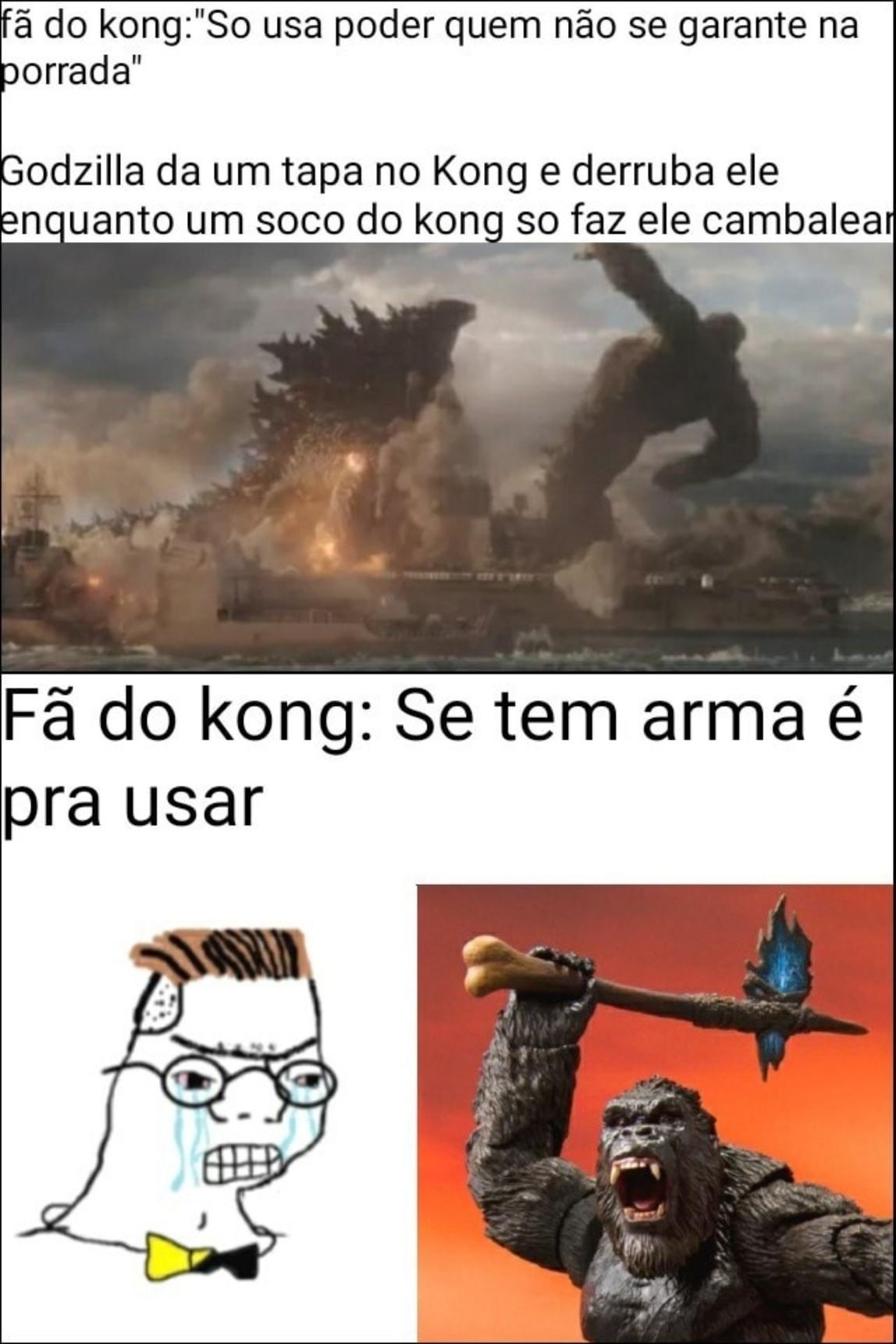 Godzilla vai quebrar o Kong na porrada? - meme