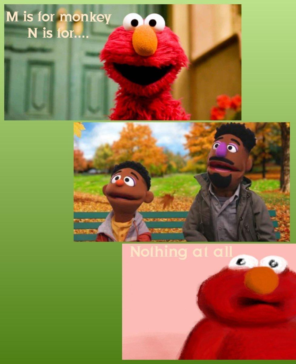 Elmo no racist, I has black friends - meme