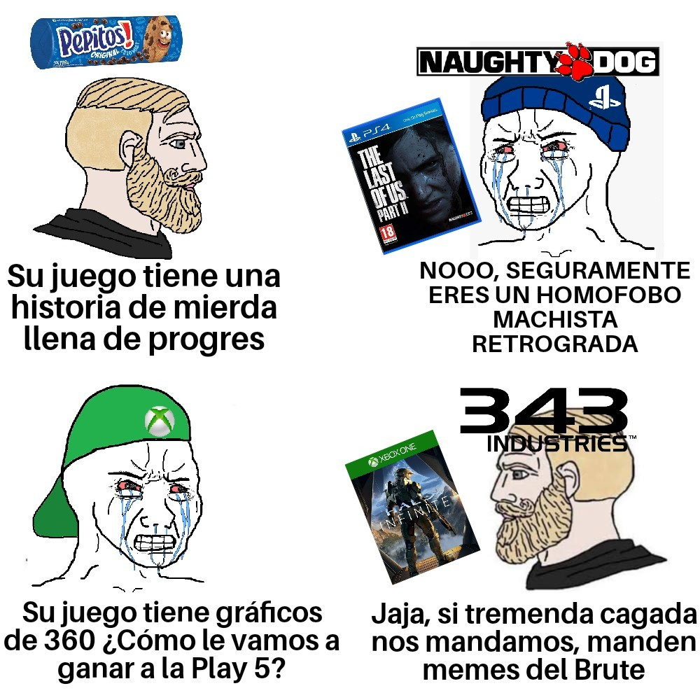 The virgin Naughty Dog Vs. The chad 343 - meme