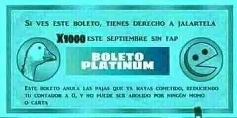 Boleto platinum - meme