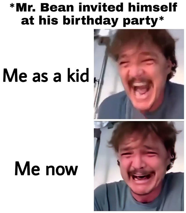 Mr Bean invited himself at his birthday party - meme