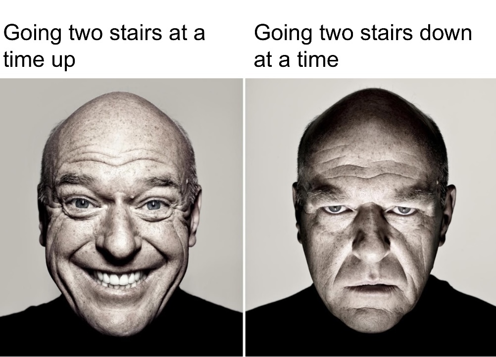 Going down is scary enough - meme