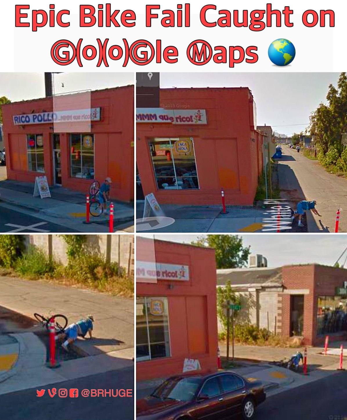 epic bike fail caught by Google maps - meme