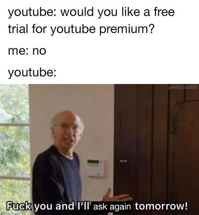 Would you like a free trial for youtube premium? - meme