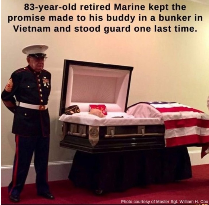 Retired Marine Master Sgt. William H. Cox and Marine First Sgt. James 'Hollie' Hollingsworth - meme