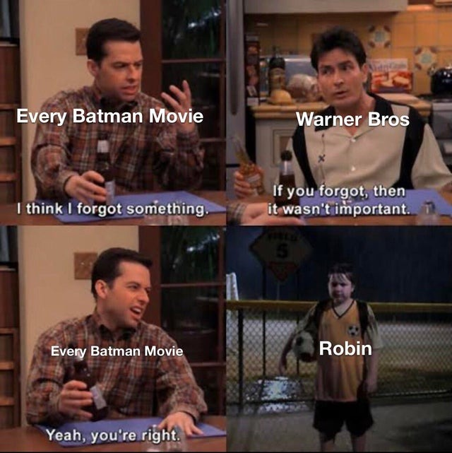 Every batman movie forgets about him - meme
