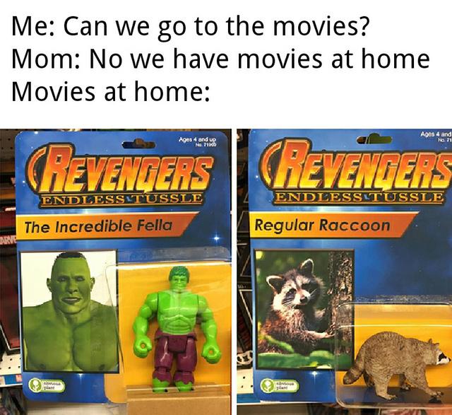 Revengers: the incredible fella and regular raccoon! - meme
