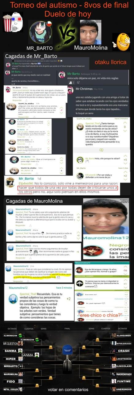 3ra Pelea: Mr_Barto vs Mauromolina12. Perdón por la tardanza, nadie quería hacer la imagen del torneo ya que el que las hacía se le murió la PC XD. Voten en los comentarios por el más autista para que pase de ronda. - meme