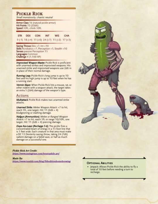 Pickle rick D&D - meme