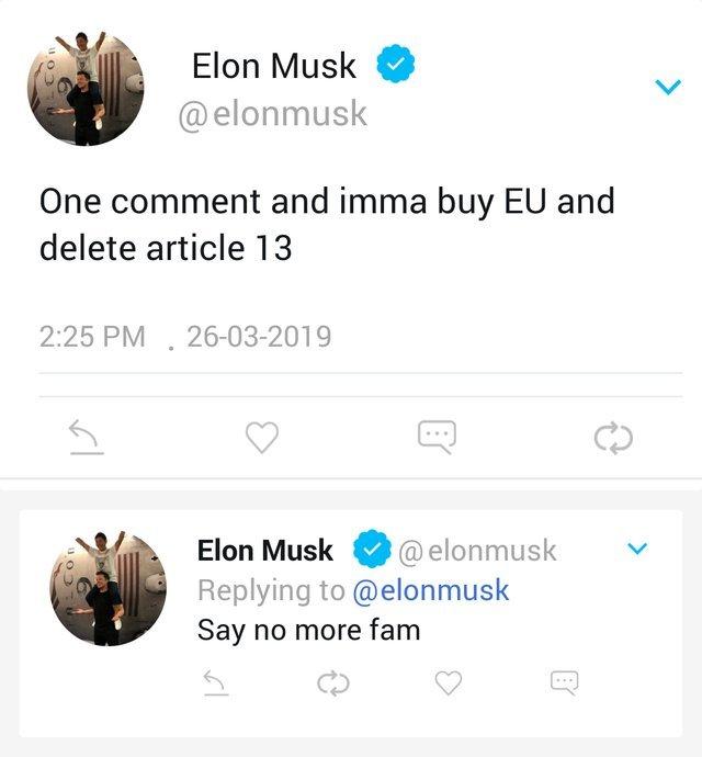 Elon Musk buys EU to delete article 13 - meme