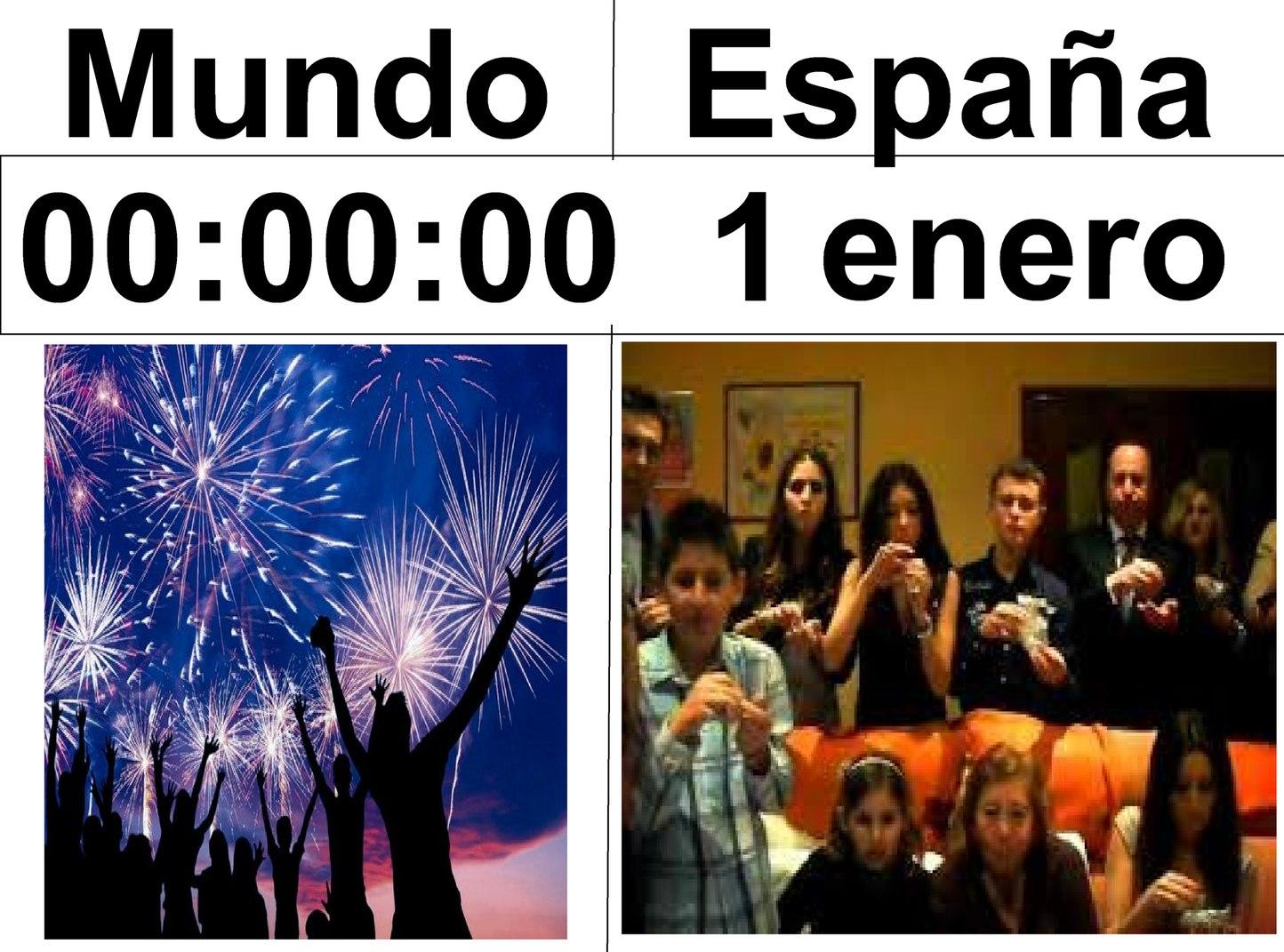 EN ESPAÑA EL AÑO COMIENZA A LAS 00:00:36 - meme
