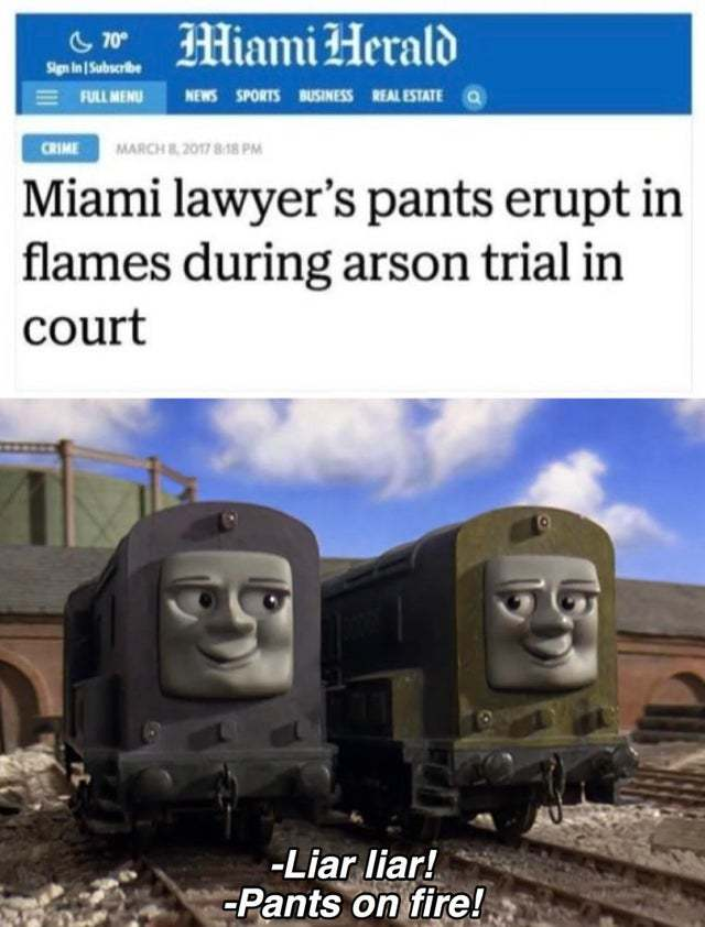 Miami lawyer's pants erupt in flames during arson trial in court - meme