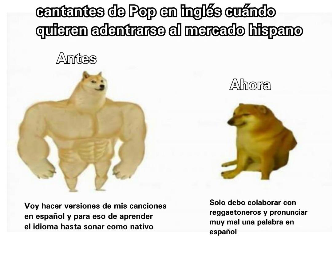 Los cantantes de pop en inglés - meme