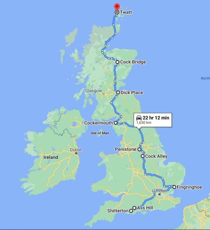 The scenic route; UK  - meme