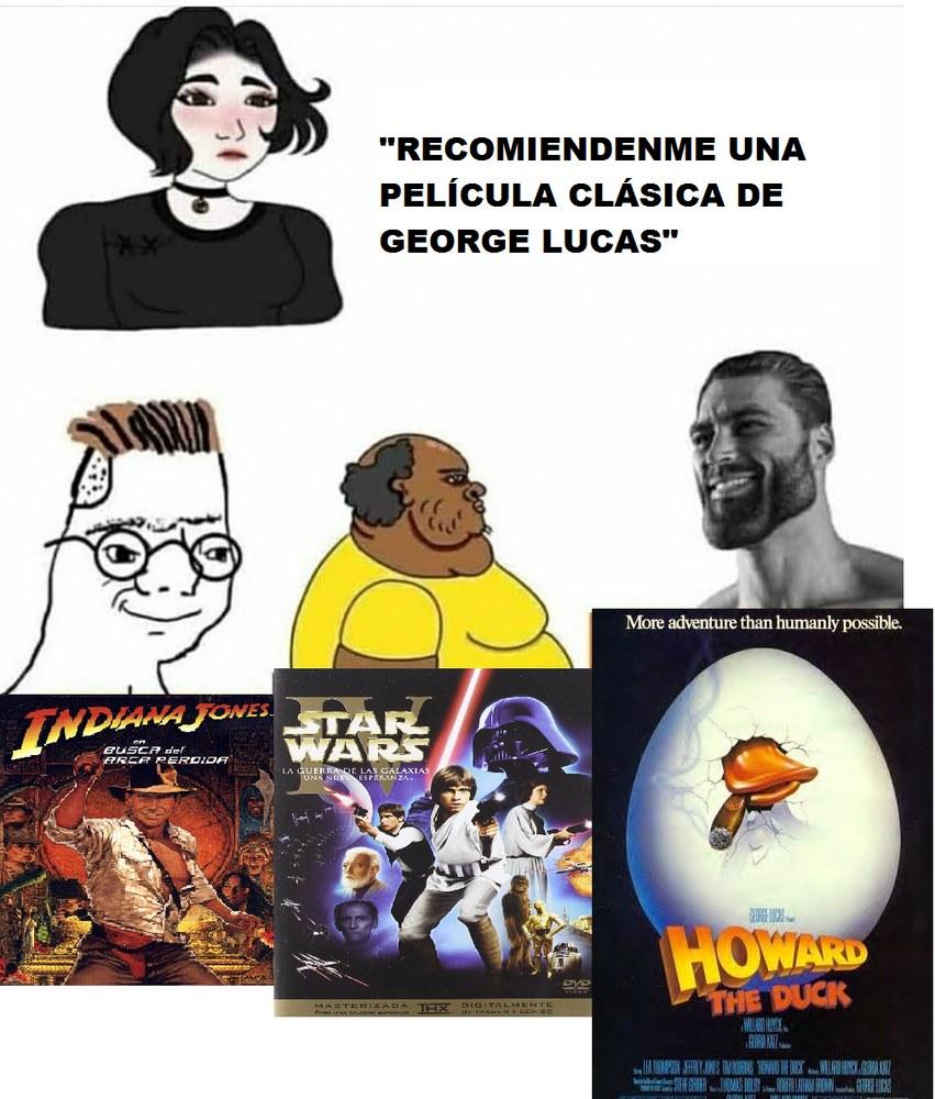 Contexto: Howard The Duck (créanlo o no es de marvel) aunque sea uno de los mayores fracasos de Lucas (la película es muy bizarra mejor quédense con los cómics) el pato ese Howard es un chad...no es broma es un chad... - meme