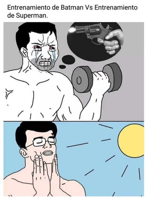 El entrenamiendo de Batman vs el entrenamiento de superman - meme