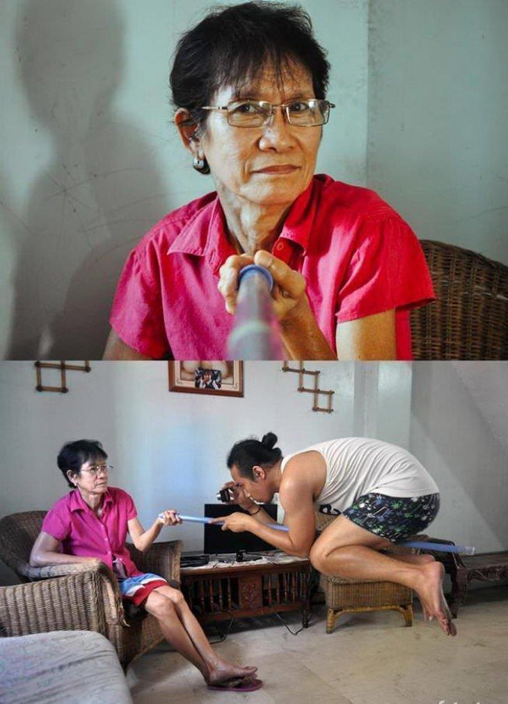 Selfie stick de grand-mère - meme