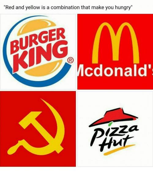 le jaune et rouge est une combinaison qui te rend affamé - meme