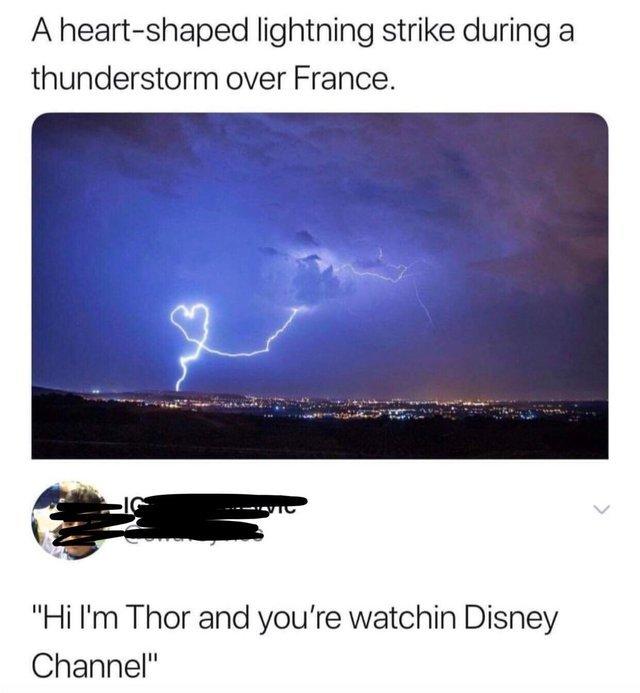 A heart-shapped lightning strike during a thunderstorm over France - meme