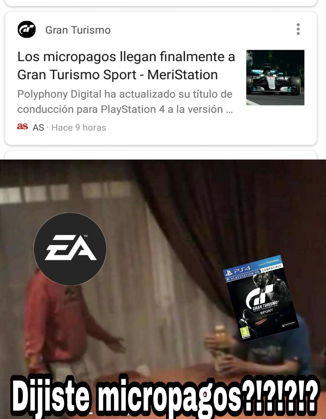 Ya se que gran turismo no es de EA pero cualquier juego ya es como EA - meme