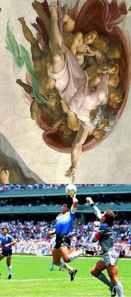 Mano de Dios Michelangelo - meme