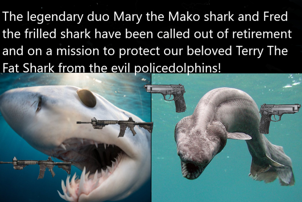 Now there are four beings against the corrupt policedolphins. If you support Terry, choose a sea animal to protect and support Terry. We can't let the police catch him. - meme
